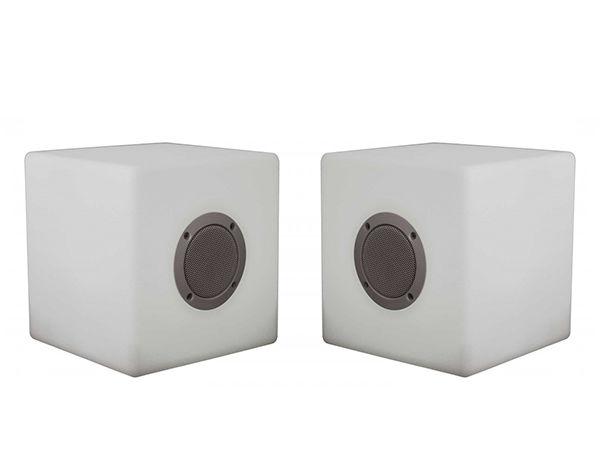 Set de 2 Cubes-enceinte Bluetooth à leds RGB - 15cm