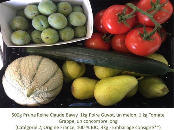 Panier BIO de fruits et légumes disponible en retrait dans votre magasin du mercredi 19 au dimanche 23 Août