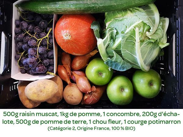 Panier BIO de fruits et légumes disponible en retrait dans votre magasin du mercredi 16 au dimanche 20 octobre
